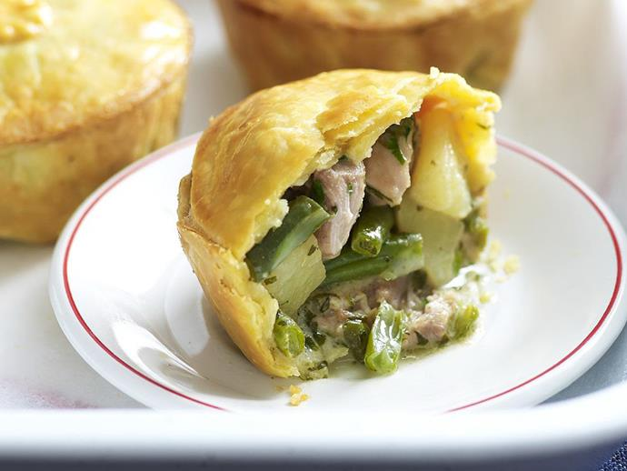 "Fragrant and filling [Thai-style green chicken curry pies](https://www.womensweeklyfood.com.au/recipes/thai-green-chicken-curry-pies-13330|target=""_blank"") make a great alternative to your usual meat pie. Accompany with plenty of green vegetables for a complete meal."