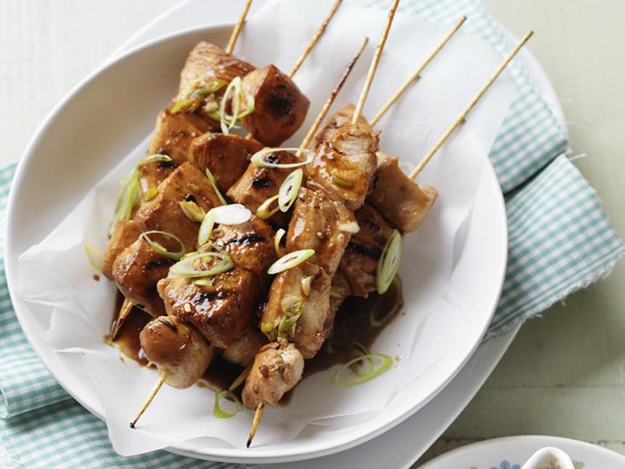 soy chicken kebabs with orange hoisin sauce