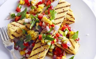 char-grilled polenta strips with corn salsa