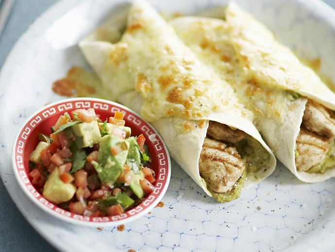 """[Chicken quesadillas](https://www.womensweeklyfood.com.au/recipes/chicken-quesadillas-with-jalapeno-tomato-salsa-12756