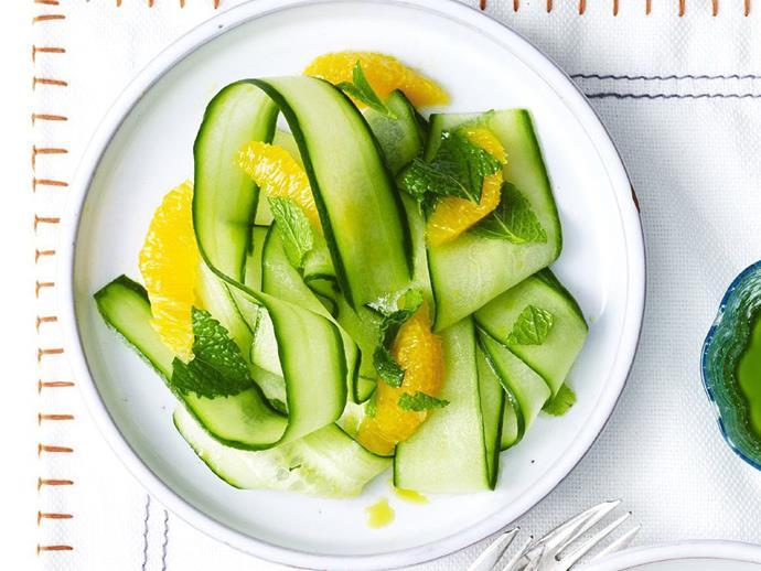 "**[Sweet cucumber and orange salad](https://www.womensweeklyfood.com.au/recipes/sweet-cucumber-and-orange-salad-5461|target=""_blank"")**"