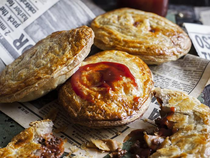 "**[Peppered beef & mushroom pies](https://www.womensweeklyfood.com.au/recipes/peppered-beef-and-mushroom-pies-5462|target=""_blank"")**"