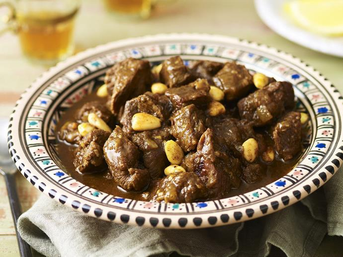 """**[Beef, raisin and almond tagine](https://www.womensweeklyfood.com.au/recipes/beef-raisin-and-almond-tagine-12770
