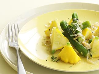 warm squash & zucchini salad with leek dressing