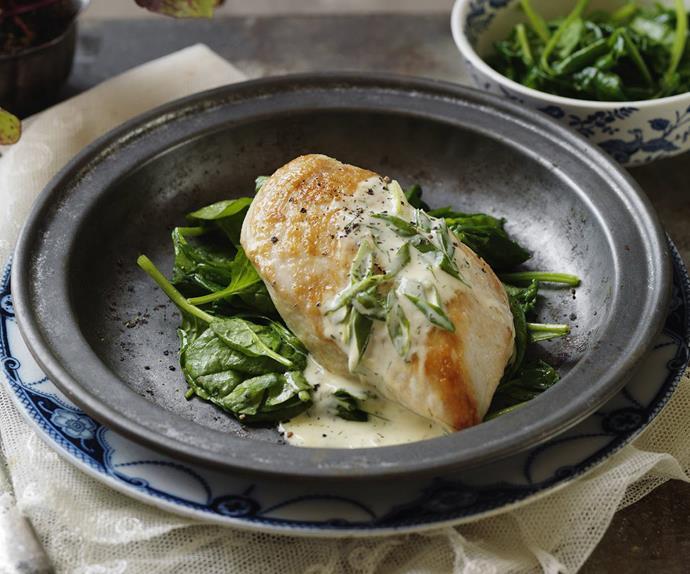 Creamy horseradish chicken with garlic sautéed spinach