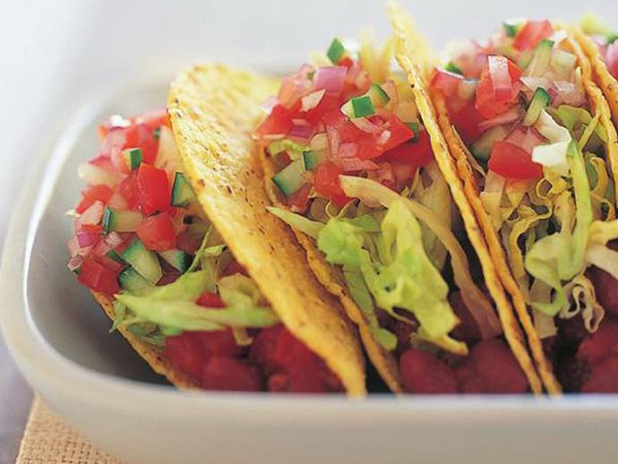 "**[Beef and bean tacos](https://www.womensweeklyfood.com.au/recipes/beef-and-bean-tacos-12823|target=""_blank"")**"