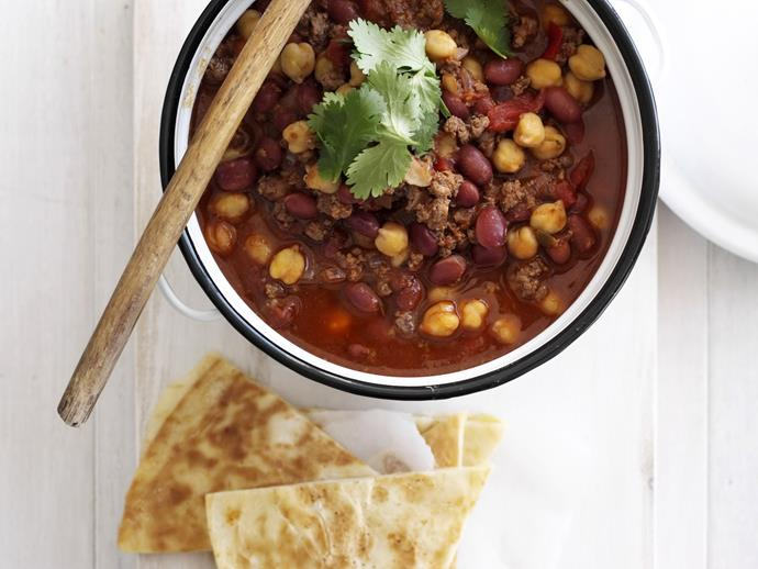"""**[Chilli con carne with quesadillas](https://www.womensweeklyfood.com.au/recipes/chilli-con-carne-with-quesadillas-12860