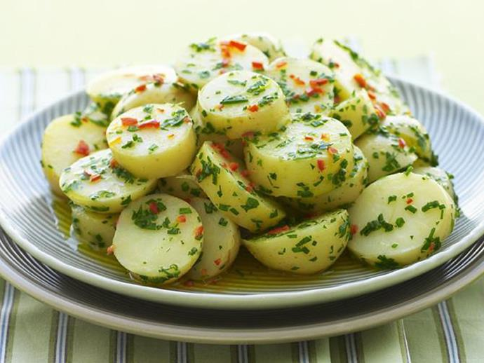 "**[Lemon, garlic and chilli potato salad](https://www.womensweeklyfood.com.au/recipes/lemon-garlic-and-chilli-potato-salad-12866|target=""_blank"")**  Tossed in a spicy lemon and chilli butter, this potato salad makes a delicious and vibrant side dish."