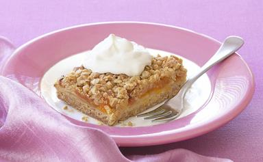 Oaty apple and apricot slice