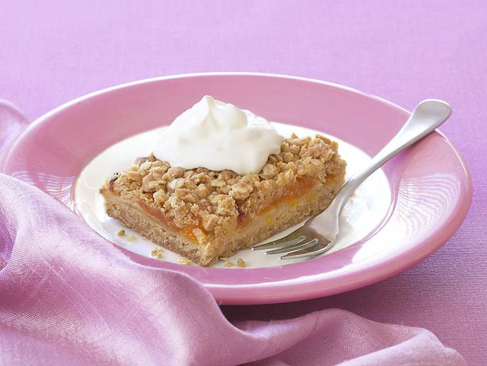 "**[Oaty apple and apricot slice](https://www.womensweeklyfood.com.au/recipes/oaty-apple-and-apricot-slice-12888|target=""_blank"")**  This golden slice makes a delicious, homely dessert served with ice-cream."