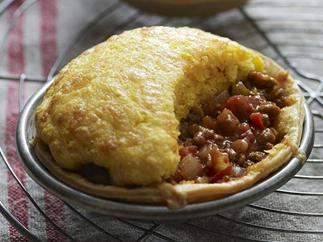 chilli beef pies with cornbread topping