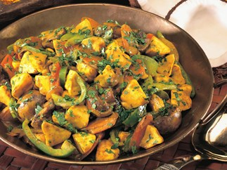 curried squash with mushrooms