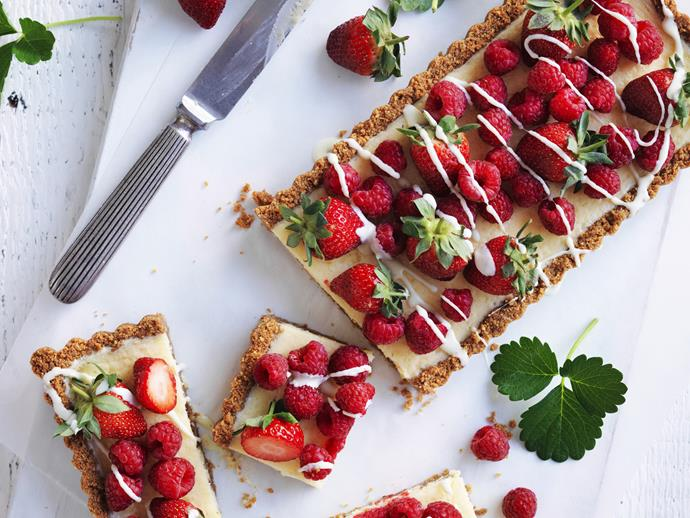 "**[Strawberry and raspberry white chocolate cheesecake](https://www.womensweeklyfood.com.au/recipes/strawberry-and-raspberry-white-chocolate-cheesecake-5287|target=""_blank"")**  Showcase those gorgeous summer berries with this fresh and creamy cheesecake."