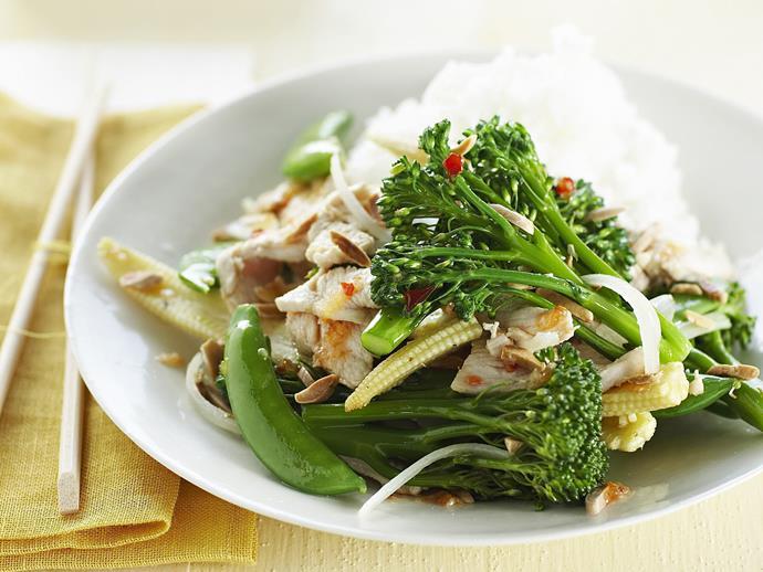 "**[Chicken, vegetable and almond stir-fry](https://www.womensweeklyfood.com.au/recipes/chicken-vegetable-and-almond-stir-fry-12918|target=""_blank"")**  A light and healthy Asian stir-fry with chicken, vegetable and almond."
