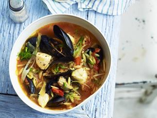 Mussel and orzo broth