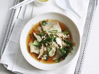 vegetable dumplings in broth