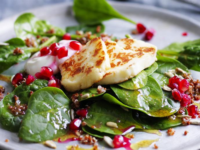 "**[Quinoa salad with haloumi and pomegranate](http://www.womensweeklyfood.com.au/recipes/quinoa-salad-with-haloumi-and-pomegranate-12956|target=""_blank"")**"