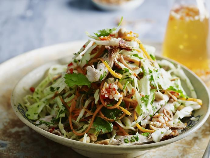 "A fresh, fragrant, sweet and sour [Vietnamese chicken and herb salad](https://www.womensweeklyfood.com.au/recipes/vietnamese-chicken-and-herb-salad-12968|target=""_blank"") with pickled carrot and a spicy dressing."
