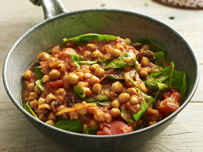 """**[Moroccan chickpea tomato stew](https://www.womensweeklyfood.com.au/recipes/moroccan-chickpea-tomato-stew-5319 target=""""_blank"""")**"""
