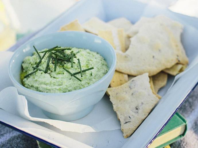 """**[Green soy bean hummus](https://www.womensweeklyfood.com.au/recipes/green-soya-bean-dip-12994