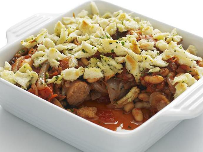 """**[Sausage and cannellini bean bake](https://www.womensweeklyfood.com.au/recipes/sausage-and-cannellini-bean-bake-5327
