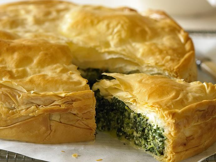 "[Spinach and feta pie](https://www.womensweeklyfood.com.au/recipes/spinach-and-feta-pie-13010|target=""_blank"")"