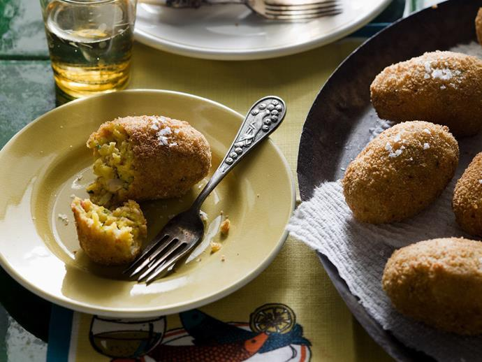 "**[Paella croquettes](https://www.womensweeklyfood.com.au/recipes/paella-croquettes-5343|target=""_blank"")**"