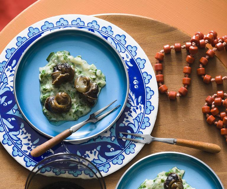 Snails with green sauce
