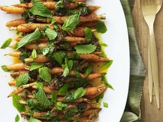 Carrot, raisin and herb salad