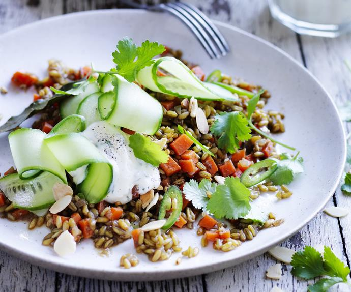 spiced freekeh with cucumber and garlic minted yoghurt