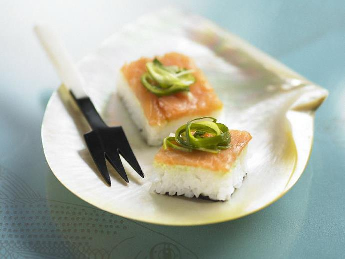 "**[Smoked salmon sushi bites with pickled green onion](https://www.womensweeklyfood.com.au/recipes/smoked-salmon-sushi-bites-with-pickled-green-onion-15505|target=""_blank"")**  Perfect for passing around as finger food at a cocktail party or other celebration, these delicious little sushi bites are given added bite by their pickled green onion topper."