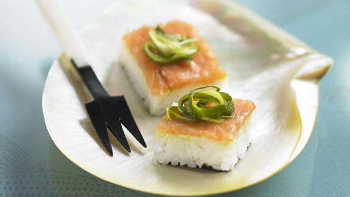 smoked salmon sushiwith pickled green onion