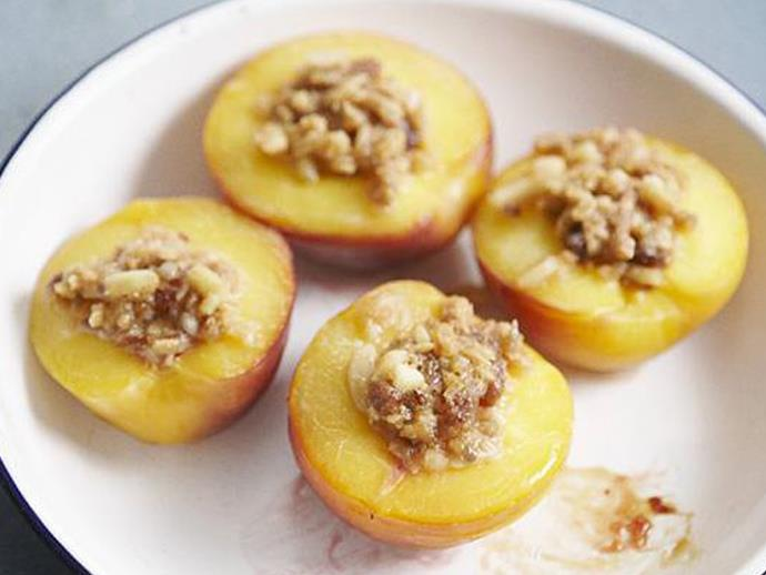 "**[Almond crumble nectarines](https://www.womensweeklyfood.com.au/recipes/almond-crumble-nectarines-12463|target=""_blank"")**  This summer dessert is simple and absolutely delicious, especially with a dollop of mascarpone on top."
