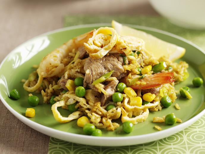 """**[Curried fried rice with pork and prawns](https://www.womensweeklyfood.com.au/recipes/curried-fried-rice-with-pork-and-prawns-12483