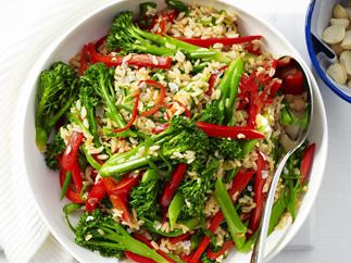 broccolini, brown rice and sesame stir-fry