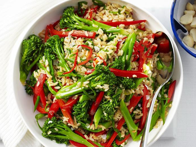 "**[Broccolini, brown rice and sesame stir-fry](https://www.womensweeklyfood.com.au/recipes/broccolini-brown-rice-and-sesame-stir-fry-12523|target=""_blank"")**  Chopped macadamias add crunch to this colourful, healthy stir-fry."