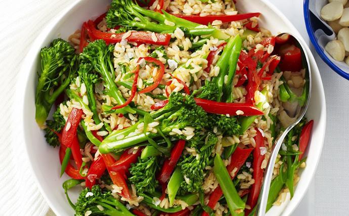 broccolini, brown rice and sesame stir-fry