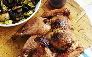 barbecued butterflied turkey