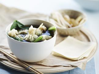 chive wontons with choy sum in asian broth