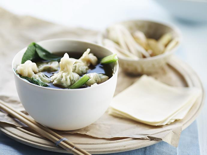 "[Chive wontons in Asian broth](https://www.womensweeklyfood.com.au/recipes/chive-wontons-in-asian-broth-15520|target=""_blank"") is surely the perfect example of Chinese comfort food. One taste of this soup, and you'll understand precisely why 'wonton' translates, quite literally, to 'swallowing a cloud'."