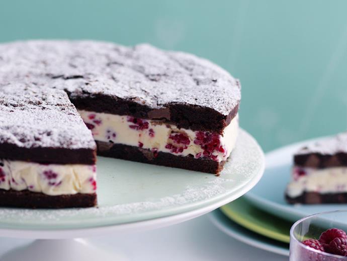 "**[Raspberry brownie ice-cream cake](http://www.womensweeklyfood.com.au/recipes/raspberry-brownie-ice-cream-cake-12553|target=""_blank"")**"