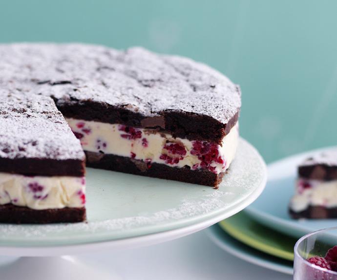 raspberry brownie ice-cream cake