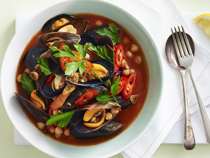 "**[Tomato chilli mussels](https://www.womensweeklyfood.com.au/recipes/tomato-chilli-mussels-12563|target=""_blank"")**"