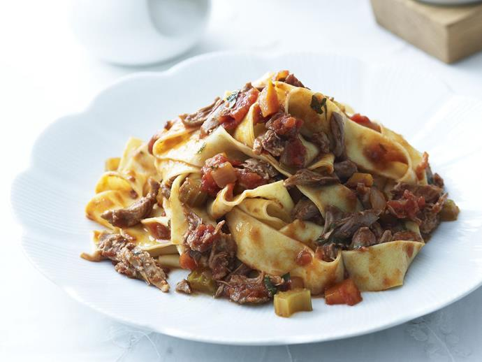"""[Braised duck ragù with pappardelle](https://www.womensweeklyfood.com.au/recipes/braised-duck-ragu-with-pappardelle-12596 target=""""_blank"""")"""