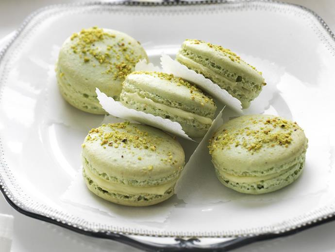 """**[Pistachio white chocolate and honey French macarons](https://www.womensweeklyfood.com.au/recipes/pistachio-white-chocolate-and-honey-french-macarons-12625
