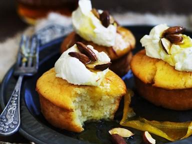 Honey saffron syrup cakes