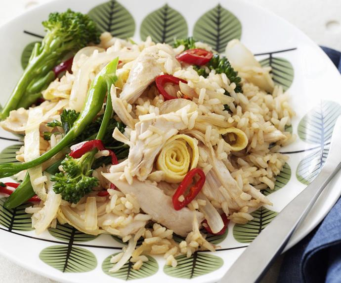 CHILLI FRIED RICE WITH CHICKEN AND BROCCOLINI