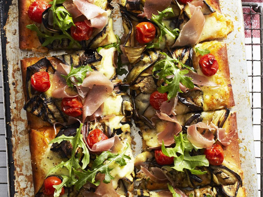 "This [eggplant and prosciutto pizza](https://www.womensweeklyfood.com.au/recipes/eggplant-and-prosciutto-pizza-12050|target=""_blank"") uses marinated chargrilled eggplant - a flavour-packed ingredient you'll want on all your pizzas from here on out!"
