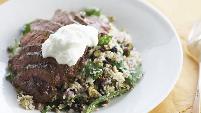 Grilled spiced lamb with burghul salad