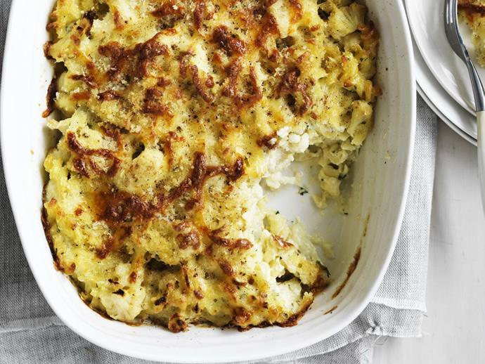 "This simple [cauliflower and cheese pasta bake](https://www.womensweeklyfood.com.au/recipes/cauliflower-and-cheese-pasta-bake-12061|target=""_blank"") is like macaroni and cheese meets [cauliflower gratin](https://www.womensweeklyfood.com.au/recipes/cauliflower-gratin-8098